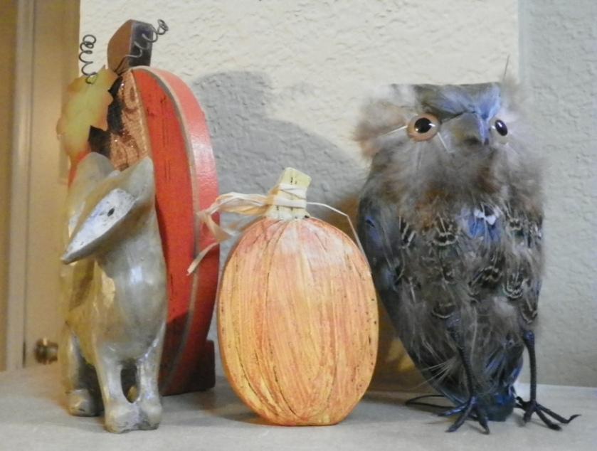 pumpkins, owl, fox