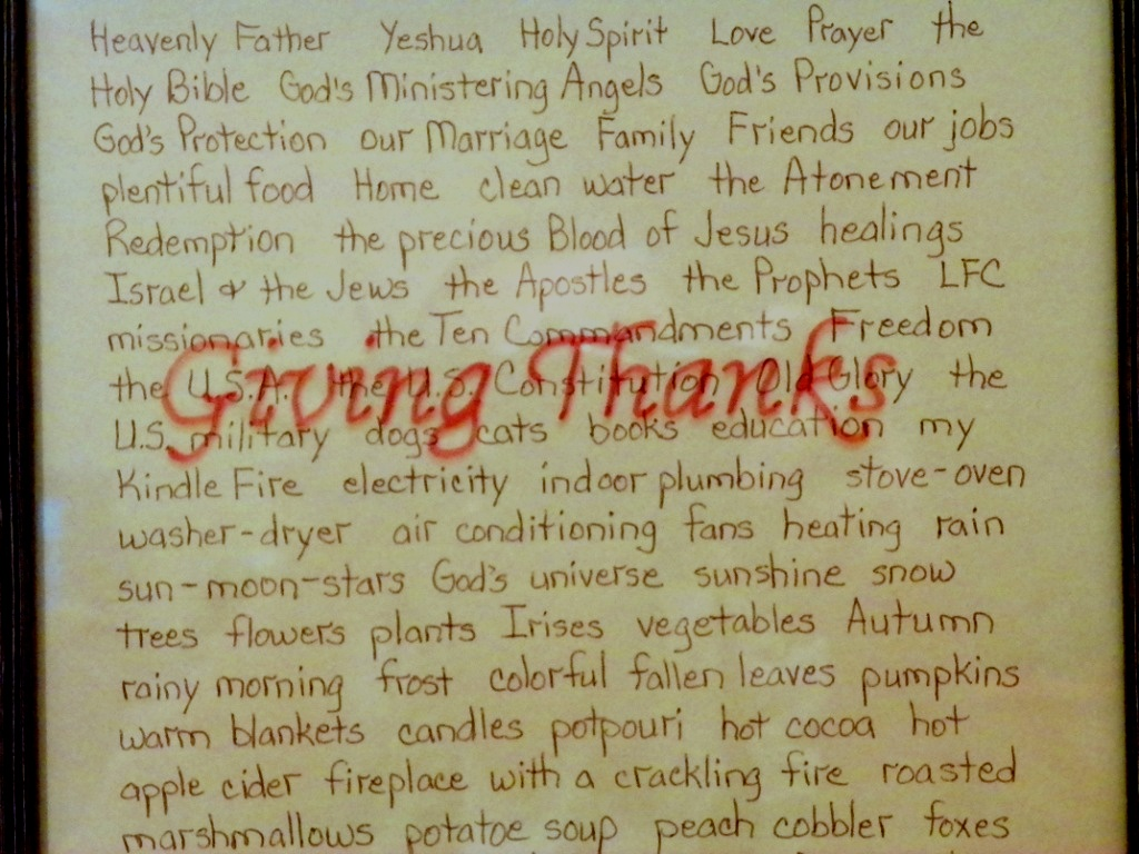 Giving Thanks List closeup