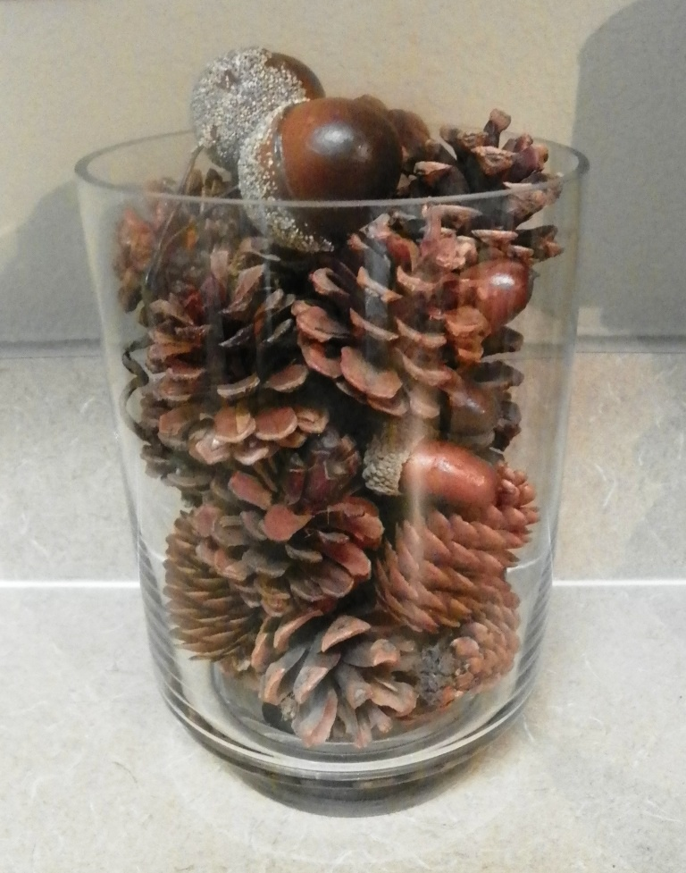 glass container of pine cones 02
