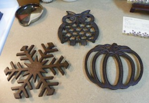 autumn trivets on counter