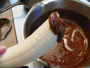 banana dipped in chocolate icing