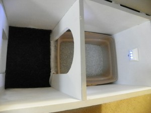 cat litter box inside